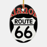 Oklahoma Route 66 Shield Double-Sided Oval Ceramic Christmas Ornament