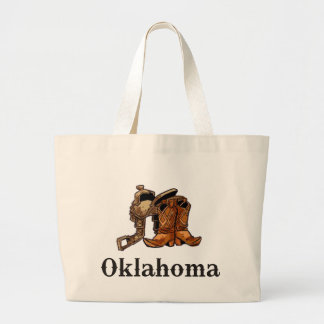 Oklahoma Saddle and Boots Large Tote Bag