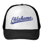 Oklahoma script logo in blue distressed mesh hats