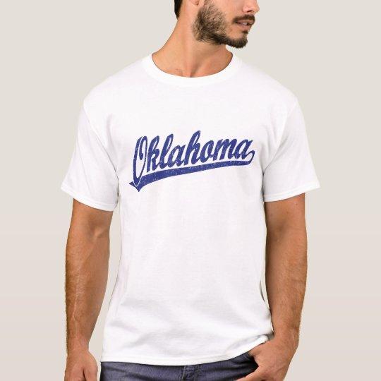 Oklahoma script logo in blue distressed T-Shirt