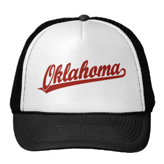Oklahoma script logo in red mesh hats