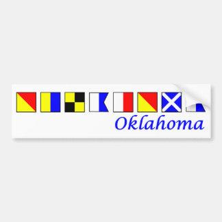 Oklahoma spelled in nautical flag alphabet bumper sticker