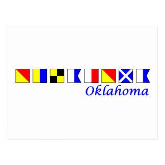 Oklahoma spelled in nautical flag alphabet postcards