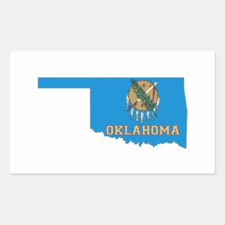 Oklahoma State Flag and Map Rectangular Sticker