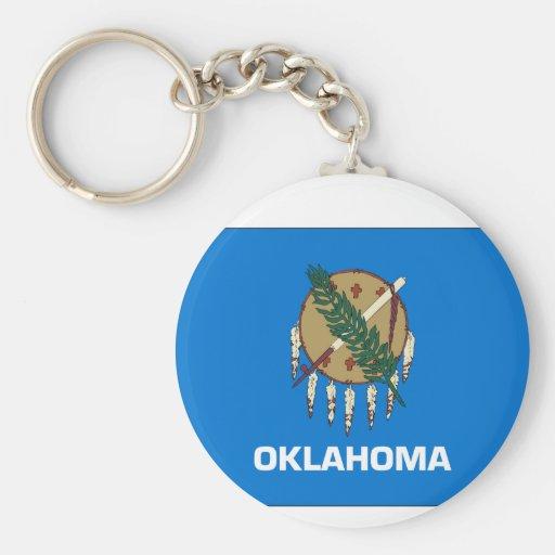 Oklahoma State Flag Basic Round Button Keychain
