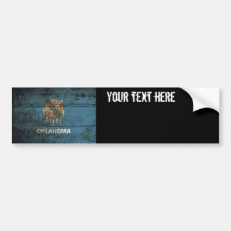 Oklahoma State Flag on Old Wood Grain Bumper Sticker