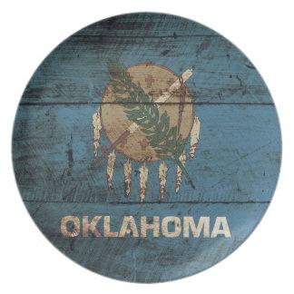 Oklahoma State Flag on Old Wood Grain Dinner Plate