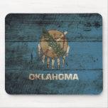 Oklahoma State Flag on Old Wood Grain Mouse Pad