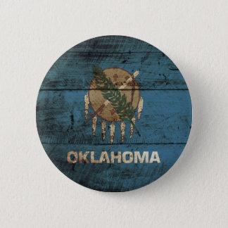 Oklahoma State Flag on Old Wood Grain Pinback Button