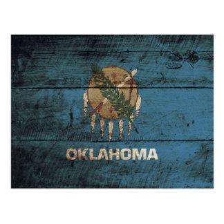 Oklahoma State Flag on Old Wood Grain Postcard