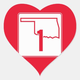Oklahoma State Highway 1 Heart Sticker
