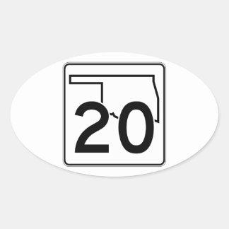 Oklahoma State Highway 20 Oval Sticker