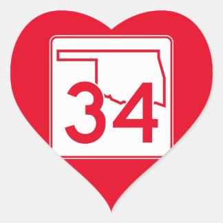 Oklahoma State Highway 34 Heart Sticker