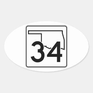 Oklahoma State Highway 34 Oval Sticker