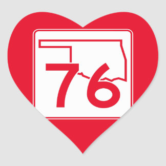Oklahoma State Highway 76 Heart Sticker