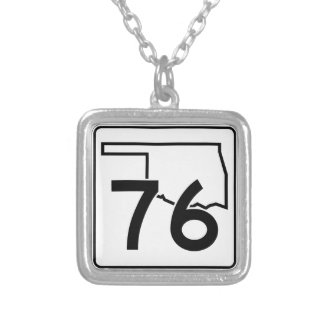 Oklahoma State Highway 76 Silver Plated Necklace