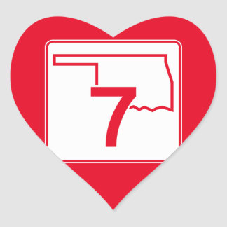 Oklahoma State Highway 7 Heart Sticker