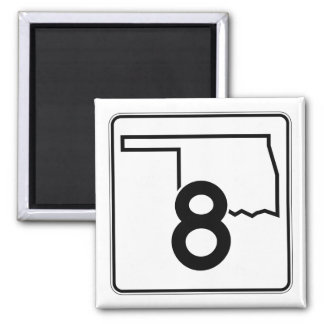 Oklahoma State Highway 8 2 Inch Square Magnet