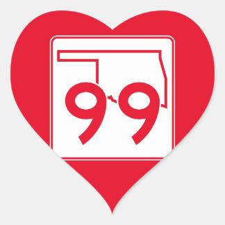 Oklahoma State Highway 99 Heart Sticker