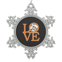Oklahoma State Love Snowflake Pewter Christmas Ornament