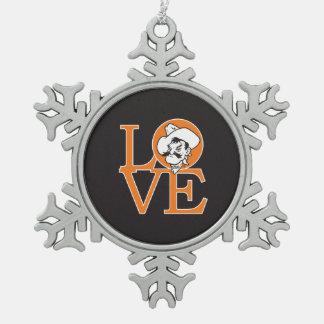 Oklahoma State Love Snowflake Pewter Christmas Ornament