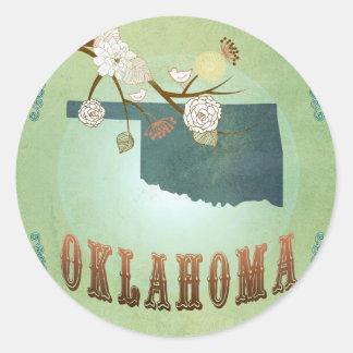 Oklahoma State Map – Green Classic Round Sticker