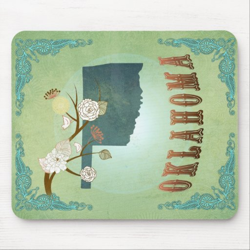 Oklahoma State Map – Green Mouse Pad
