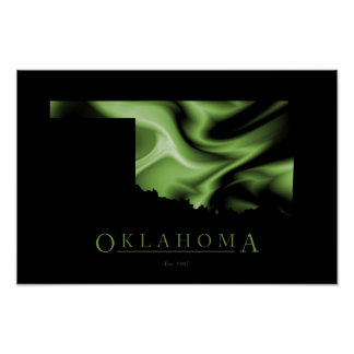 Oklahoma State Map Image Poster