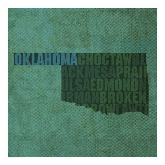 Oklahoma State Outline Word Map on Canvas Posters