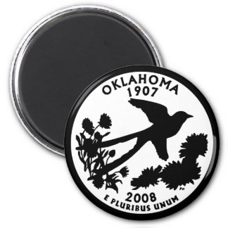 Oklahoma State Quarter 2 Inch Round Magnet
