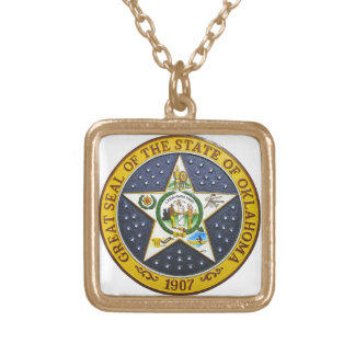 OKLAHOMA STATE SEAL SQUARE PENDANT NECKLACE