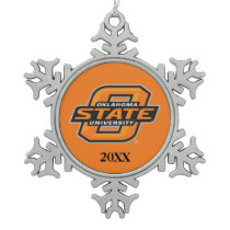 Oklahoma State University Snowflake Pewter Christmas Ornament