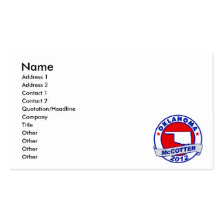 Oklahoma Thad McCotter Business Card