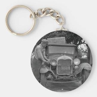 Oklahoma to California, 1930s Keychain
