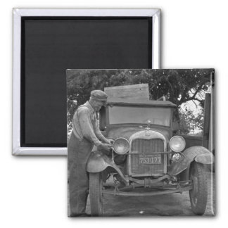 Oklahoma to California, 1930s 2 Inch Square Magnet