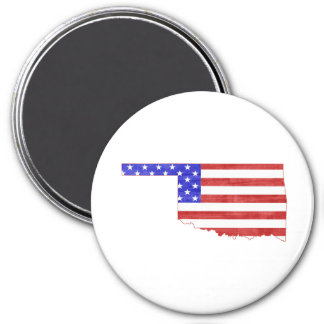 Oklahoma USA flag silhouette state map 3 Inch Round Magnet