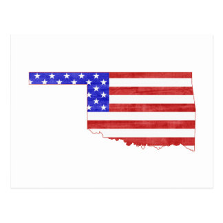 Oklahoma USA flag silhouette state map Postcard