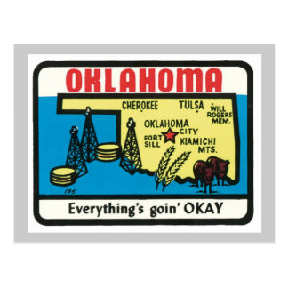 Oklahoma Vintage Label Postcard