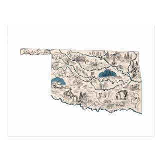 Oklahoma Vintage Picture Map Postcard