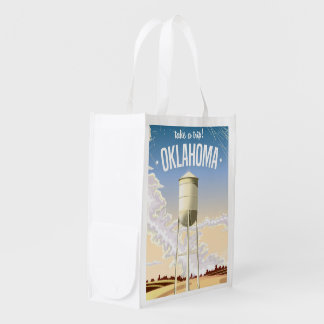 Oklahoma vintage travel poster grocery bag