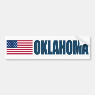 Oklahoma with US Flag Bumper Sticker