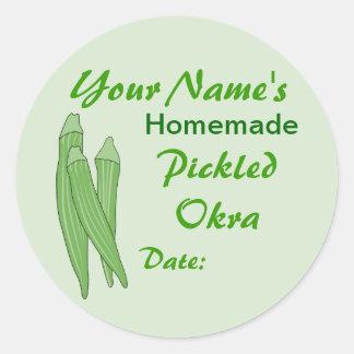 Okra conservado en vinagre etiquetas personalizado etiquetas redondas
