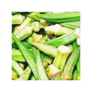 okras green vegetables still life-canvas square canvas print