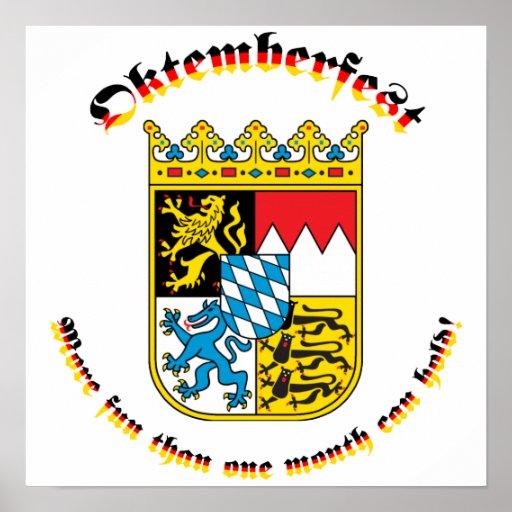 Oktemberfest con los brazos bávaros póster