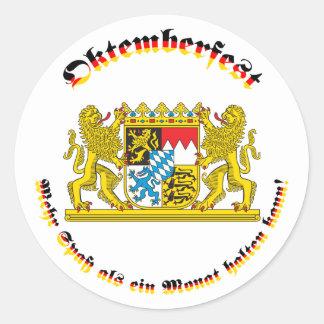 Oktemberfest mit bayrischem Grosswappen Classic Round Sticker