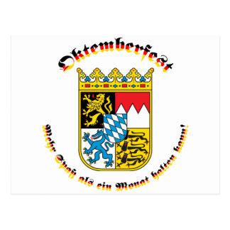 Oktemberfest mit bayrischem Wappen Postcard