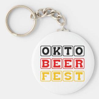 Oktobeerfest: Oktoberfest German Beer Festival Basic Round Button Keychain