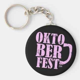 Oktoberfest 2014 - Pink distressed Basic Round Button Keychain
