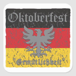 Oktoberfest apenó la bandera pegatina cuadrada