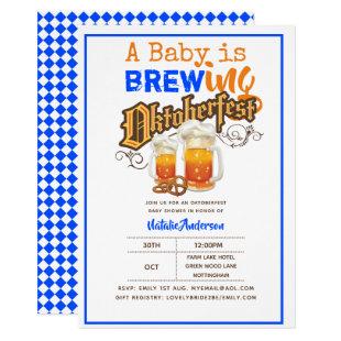 Oktoberfest Baby Shower Baby Is Brewing BEER PRETZ Invitation